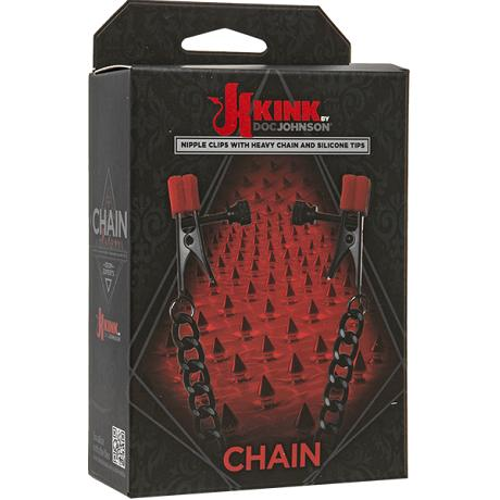 KINK by DOC JOHNSON Nipple Clips with Heavy Chain and Silicone Tips CHAIN