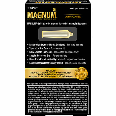 TROJAN MAGNUM LARGE SIZE CONDOMS Lubricated 12 Latex Condoms