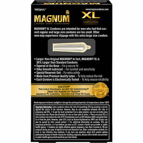 TROJAN MAGNUM LARGE SIZE CONDOMS XL Lubricated 12 Latex Condoms