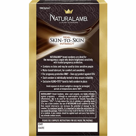 TROJAN NATURALLAMB Latex Free 10 Lubricated Natural Skin Condoms